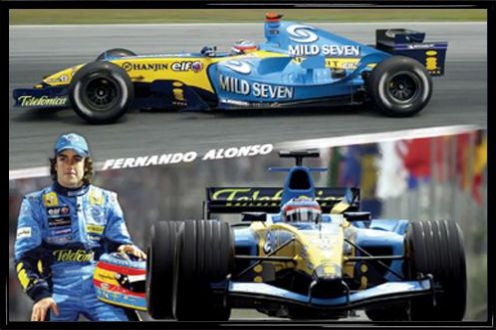 formel 1 fernando alonso collage 1 poster online im. Black Bedroom Furniture Sets. Home Design Ideas