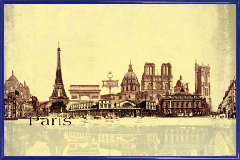 paris collage urbain style vintage poster acheter des posters sur le site de 1art1. Black Bedroom Furniture Sets. Home Design Ideas