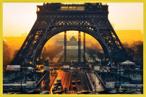 paris eiffel sunrise poster acheter des posters sur le site de 1art1. Black Bedroom Furniture Sets. Home Design Ideas