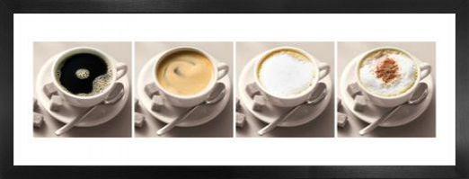 Cuisine cups with different coffee sorts art prints for Alpine cuisine coffee cups