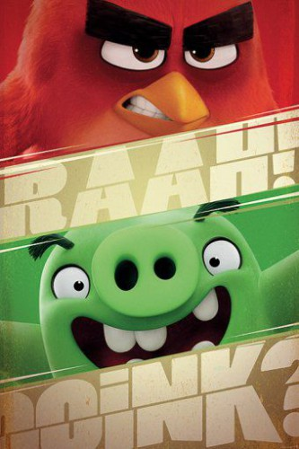 Angry birds oiseau rouge et cochon vert poster - Cochon angry bird ...