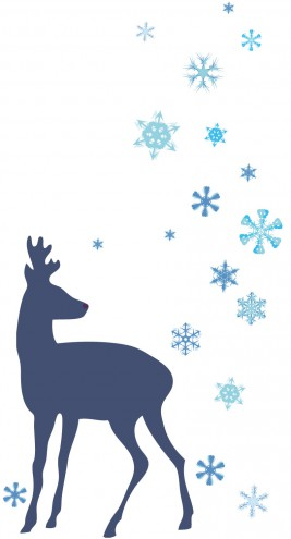 Christmas - Deer And Frozen Ice Stars, Blue