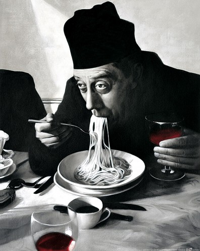 Kochkunst spaghetti rotwein don camillo kunstdrucke for Don camillo a paris