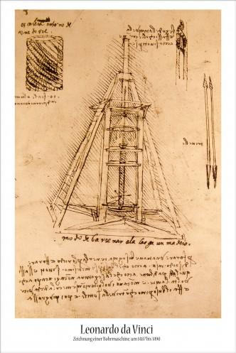 Leonardo Da Vinci - Drawing Of A Drilling Machine, 1487-1490