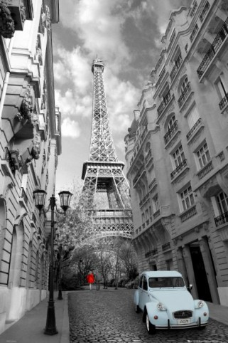 eiffelturm paris frau in rot ente in blau poster online im shop von 1art1 kaufen. Black Bedroom Furniture Sets. Home Design Ideas