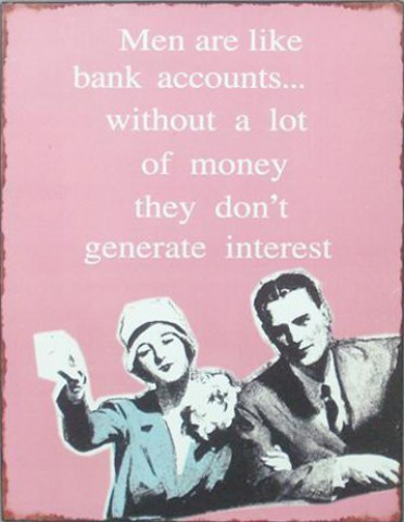 Spaß - Men Are Like Bank Accounts, Without A Lot Of Money They Don´t Generate Interest, Retro Style