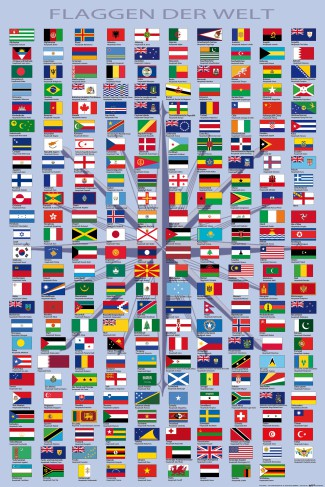 Flags Of The World - Country Names And Capitals, In German