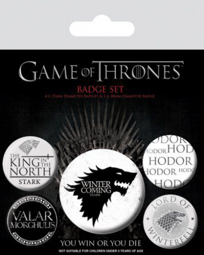 Game Of Thrones - Winter Is Coming, Stark, Hodor, Valar Morghulis, 1 X 38mm & 4 X 25mm Badges