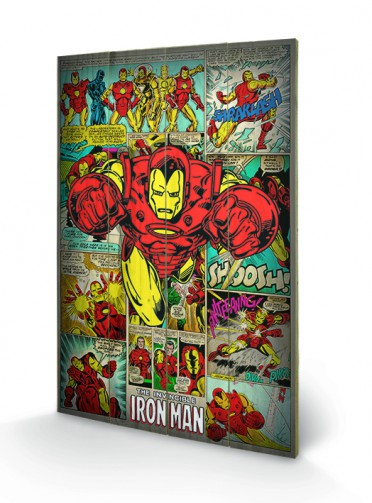 Marvel Wood Wall Decor : Iron man marvel comics retro wooden wall art buy