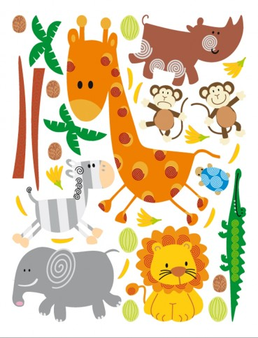 monde des enfants animaux de la jungle stickers acheter des posters sur le site de 1art1. Black Bedroom Furniture Sets. Home Design Ideas