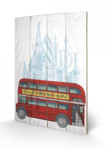 londres autobus imp rial rouge art sur bois acheter des posters sur le site de 1art1. Black Bedroom Furniture Sets. Home Design Ideas