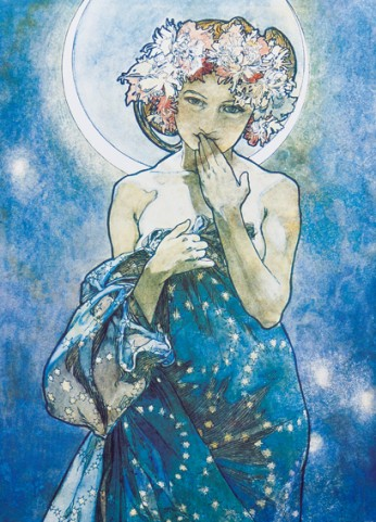 Alphonse Mucha The Moon 1902 2 Parts Adhesive Photo Wallpaper Buy Posters Online With 1art1