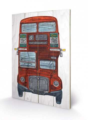 londres bus imp rial barry goodman art sur bois acheter des posters sur le site de 1art1. Black Bedroom Furniture Sets. Home Design Ideas