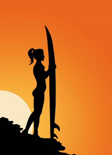 Pretty Girls - Surfer Girl Silhouette At Sunset, 2 Parts