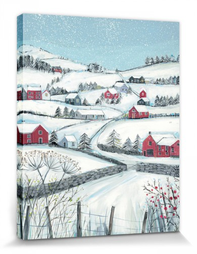 Snow-Covered Landscapes - Winter Hill With Red Houses, Janet Bell