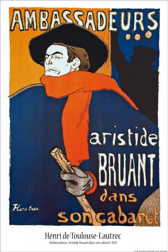 henri de toulouse lautrec aristide bruant dans son cabaret poster acheter des posters sur. Black Bedroom Furniture Sets. Home Design Ideas