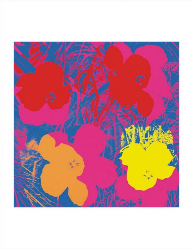 Andy Warhol - Flowers C.1964 ( Red, Yellow, Orange On Blue)