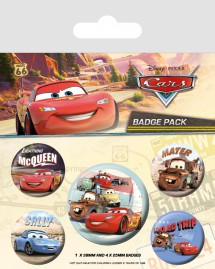 Cars - Cars On The Road, 1 X 38mm & 4 X 25mm Badges