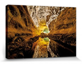 Caves - Lava Cavern And Its Emerald, Ochre And Golden Mirror Image