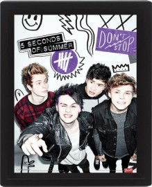 5 Seconds Of Summer - Don´t Stop, 3D Poster Framed