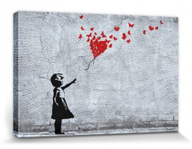 Girls - Girl With Butterfly Balloon, Fly Away Heart, Banksy Style