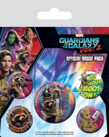 Guardians Of The Galaxy - Vol. 2, Rocket Raccoon & Groot, 1 X 38mm & 4 X 25mm Badges
