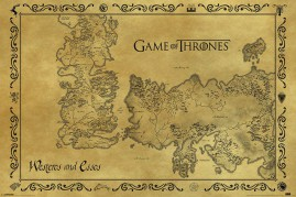 Game Of Thrones - Antique Map Of Westeros And Essos, Vintage Style