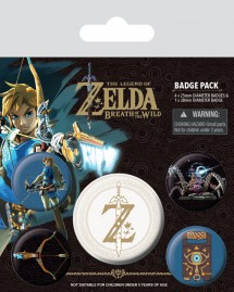 The Legend Of Zelda - Zelda Breath Of The Wild Z Emblem, 1 X 38mm & 4 X 25mm Badges