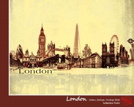 London - Urban Collage, Vintage Style
