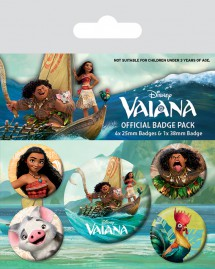 Vaiana - Vaiana Characters, 1 X 38mm & 4 X 25mm Buttons