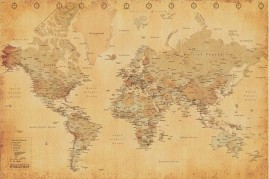 Maps - World Map Vintage Style, In English