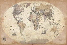 Maps - World Map, 2011 Edition, Vintage Style, In English
