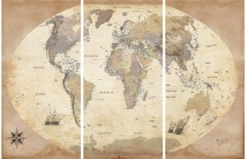 Maps - World Map, 2011 Edition, Vintage Style, In English, 3 Parts