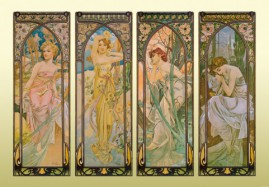 Alphonse Mucha - The Four Times Of Day, 1899, 3 Parts