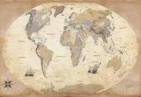 Maps - World Map, Vintage Style, In English