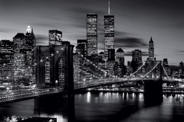 New York - Brooklyn Bridge At Night, B/W