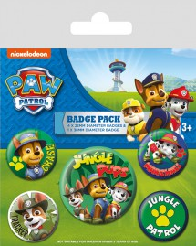 Paw Patrol - Jungle, 1 X 38mm & 4 X 25mm Badges