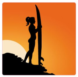 Pretty Girls - Surfer Girl Silhouette At Sunset
