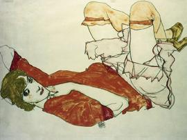 Egon Schiele - Wally Mit Roter Bluse, 1913