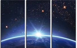 Space And Universe - Starry Sky Over The Earth Horizon At Sunrise, 3 Parts