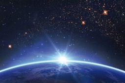 Space And Universe - Starry Sky Over The Earth Horizon At Sunrise