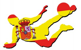 Football - Shooting Player In Flag T-Shirt, Spain