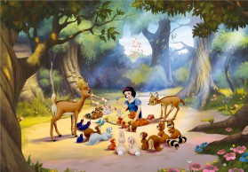 Snow White And The Seven Dwarfs - Picnic With Animals In The Woods, 4 Parts