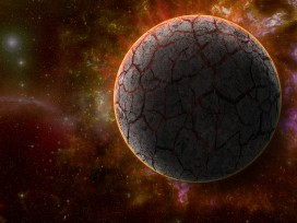 Space And Universe - Black Planet With Red Glow