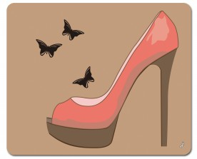 Shoes - Red High Heel And Butterfly, Welcome