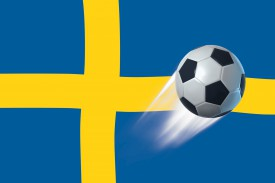 fu ball schweden l nder flagge poster online im shop von 1art1 kaufen. Black Bedroom Furniture Sets. Home Design Ideas