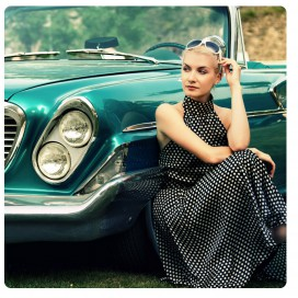 Vintage Cars - Girl And A Green Car