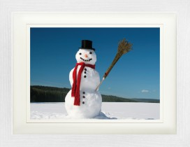Winter - Snowman With Red Scarf In Snow-Covered Landscape