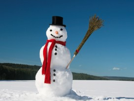 Winter - Snowman With Red Scarf In Snow-Covered Landscape, 2 Parts