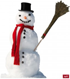 Winter - Snowman With Red Scarf And Broom